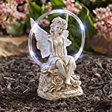 The Lakeside Collection Ceramic Sitting Angel Garden Statue with Solar Lighted Halo Accent