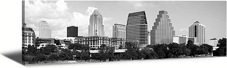 B & W Panoramic City Austin Skyline Tx-USA City Skyline Canvas Wall Art,Modern Art Work Cityscape Pictures Paintings Art Wall for Bedroom Art Home Decorations Office Decor Ready to Hang 14x48