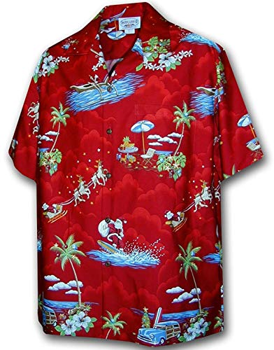 Pacific Legend Christmas Santa Claus Hawaiian Shirt (XL, Red)