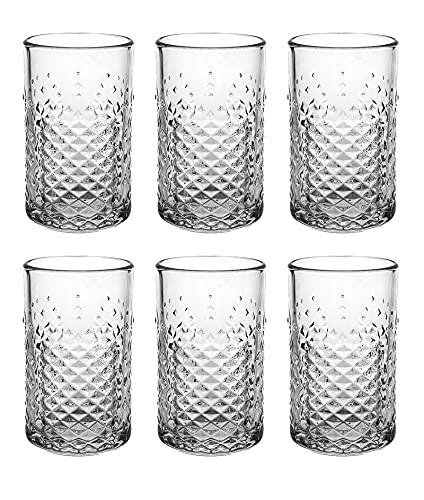 UNISHOP Set de 6 Vasos de Agua y Bebidas Alcohólicas, Vasos de Cristal Transparentes de 450ml, Aptos para Lavavajillas y Microondas