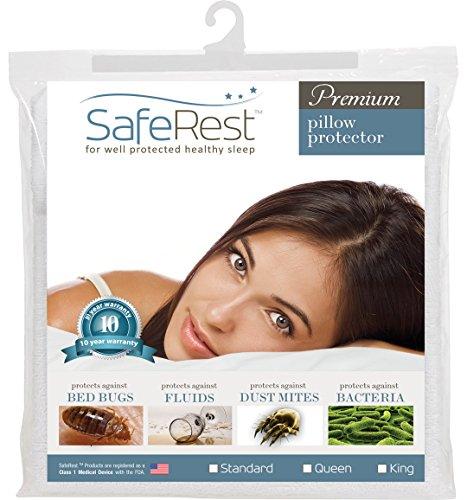 SafeRest Premium Hypoallergenic Bed Bug Proof Zippered Waterproof Pillow Protector (1) Standard Size