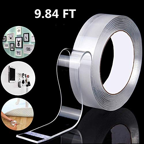 Double Sided Adhesive Nano Tape,Transparent Strong Washable Adhesive Traceless Gel Tape,Removable and Reusable Sticky Anti Slip Tape for Home,Wall,Room,Office Decor (9.84 FT)