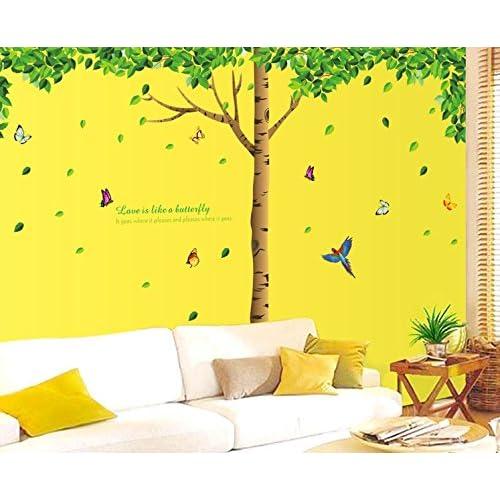 Oren Empower Big Green Tree Wall Sticker (330 cm x 225 cm, Green, Pack of 3)