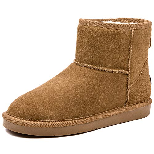 ZGR Women's Classics Winter Snow Boots Cow Suede Leather Mid-Calf Fur Lined Warm Shoes Outdoor Ankle...