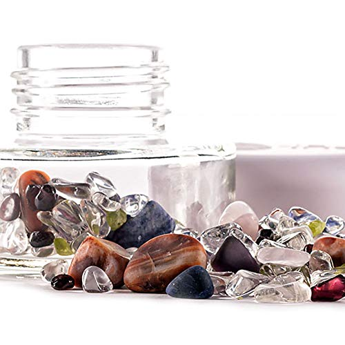 VitaJuwel Inu! Crystal Jar | 7 Chakras ++ Glass with Genuine Gemstones to Prepare Crystal Elixirs ++ Clear Quartz - Amethyst - Sodalite - Rose Quartz - Peridot - Carnelian - Garnet