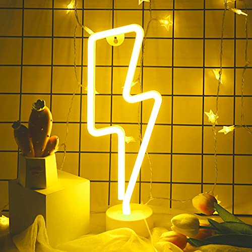 Momkids Lightning Bolt Neon Light Signs LED Lights for Room Battery or USB Powered Neon Lamp Night Light Up Sign for Bedroom Home Study Kids Room Gaming Decorative Lights (Warm White)