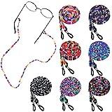 XiYee 7 Piezas Correa Gafas, Gafas de Sol Cuerda, Cadena de Gafas Retenedor Cadenas para Mujer Hombre y Niño, Gafas de Lectura Cordón Fijo, Gafas Étnico Cuerda