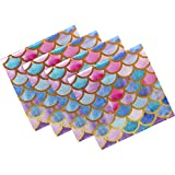 Naanle Mermaid Cloth Napkins Dinner Table Napkins Set of 4, Mermaid Scales Solid Washable Reusable Polyester Napkins with Hemmed Edges for Home Holiday Party Wedding Oversized 20 x 20 in