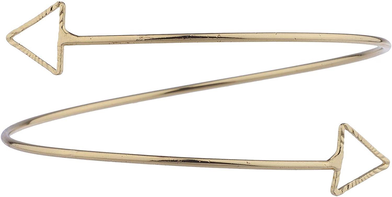 LUX ACCESSORIES Goldtone Swirl Metal Wire Triangle End Arm Cuff Bracelet