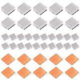 50 Stück Raspberry Pi Kühlkörper-Set, CJRSLRB Hochleistungs-Aluminium-Kühlkörper + Kühlkörper Kupfer-Unterlegscheiben mit wärmeleitfähigen Klebe-Aufklebern für Raspberry Pi B B+ 2 und 3
