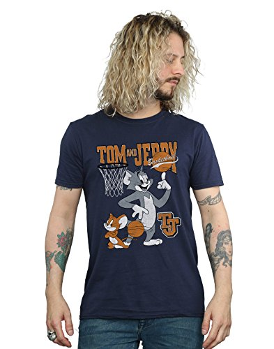 Absolute Cult Tom and Jerry Hombre Spinning Basketball Camiseta Azul Marino XX-Large
