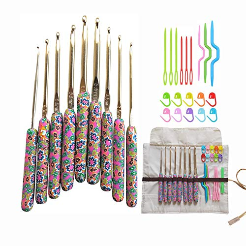 Crochet Hooks Set with Polymer Clay Handle, 9 Size Aluminum Crochet Hooks with Storage Case & Crochet Accessories