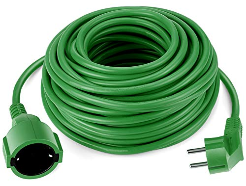 Rallonge électrique Schuko de 20 m - Vert - IP44 - Jusqu'à 3500 W - Pour le jardin - Pratique pour l'extérieur