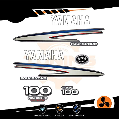 Generico Kit Adesivi Motore Marino Fuoribordo Yamaha 100 CV - Four Stroke F100 Bianco
