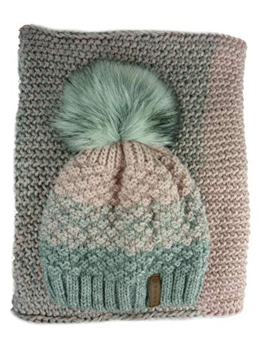 AMALTEA TEA 2 teiliges Damen Winterset Schal Mütze (rosa altrosa grau) Veilo 36.64 - ohne Handschuhe
