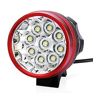 Foco delantero, luz trasera solar y cargador de Ponatia, superbrillante, 9 LED CREE XM-L T6 de 15000 lúmenes, para correr, pescar, acampar, andar en bicicleta, rojo