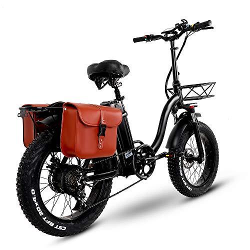 Fat Bike Electrique Y20 Ebike 20 Pouces, Upgrade Velo Electrique Femme avec Batterie 15AH 48V, VTT Electrique Pliable avec 750W(EU Warehouse)