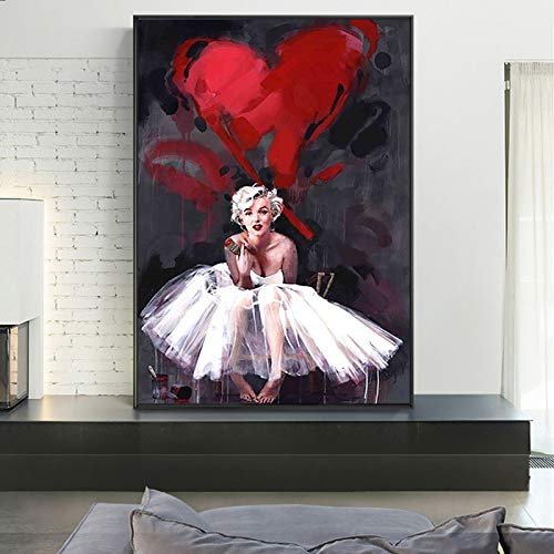 fdgdfgd Arte de la Pared de la Lona Retrato Abstracto de Marilyn Monroe Pintura al leo y decoracin de la Pared de la habitacin de la nia