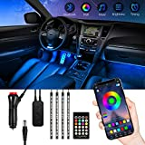 Tira Led Coche Bluetooth, TASMOR Luces Led Coche con 48 Led RGB 5050 Impermeable, Ambiente Luz Interior de coche Controlado con APP, Mando para Decoracion