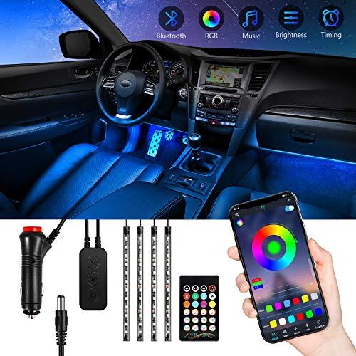Striscia Led per Auto Bluetooth, Luci a Led per Auto TASMOR con 48 led RGB 5050 Impermeabili, Atmosfera Luminosa per Interni Auto Controllata con APP, Telecomando per la Decorazione