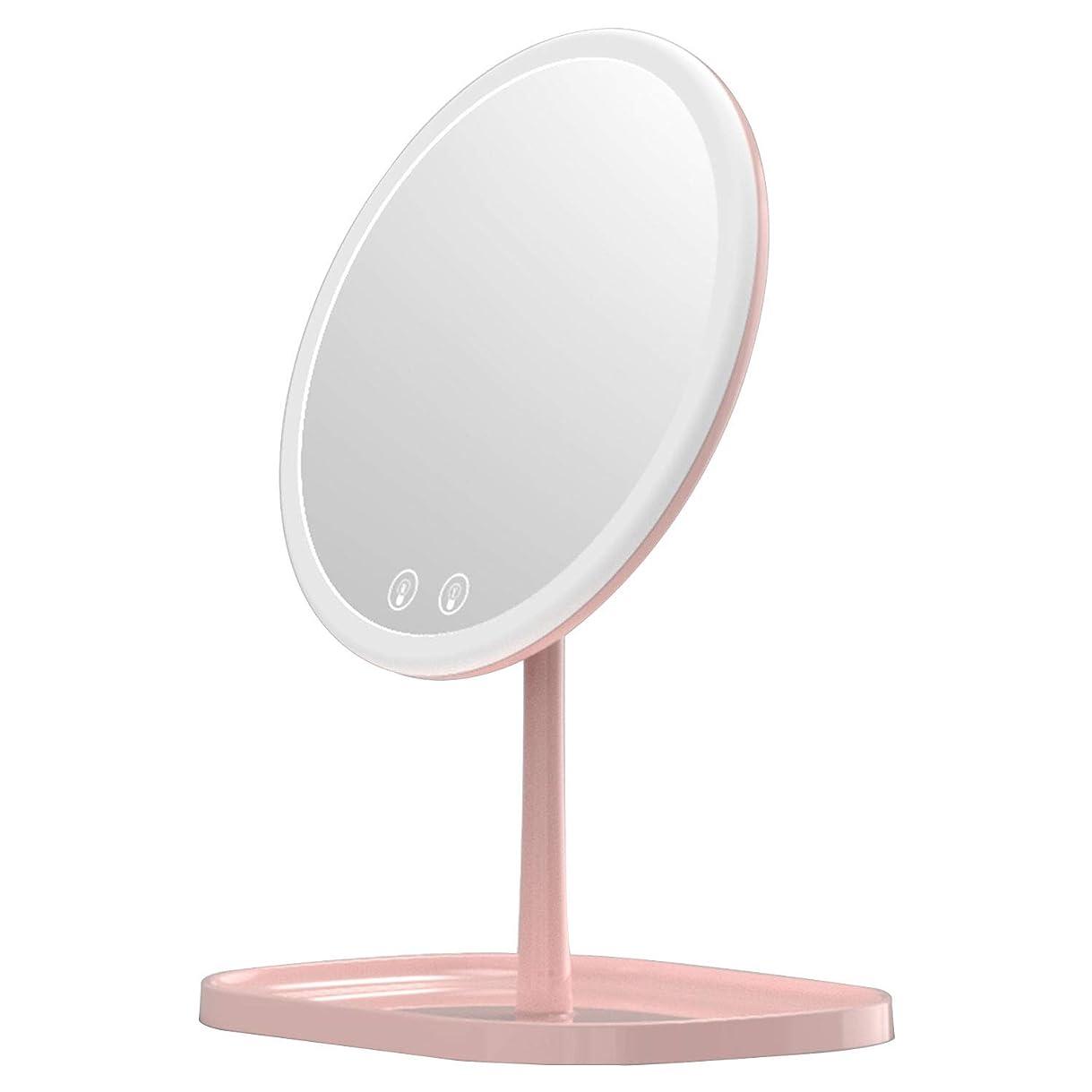 水没歩き回る食欲Mouyor 化粧鏡***化粧鏡充電式LED、1 x / 5 x拡大、5倍拡大鏡 LEDライト付き 卓上鏡 3色の照明モード(ピンク)