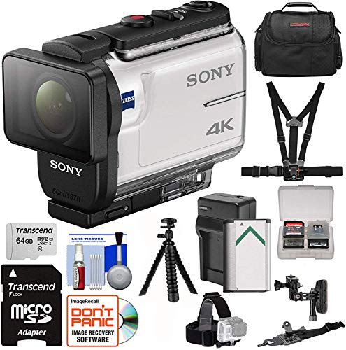 Sony Action Cam FDR-X3000 Wi-Fi GPS 4K HD Video Camera Camcorder with Chest & Helmet Mounts + 64GB Card + Battery & Charger + Case + Tripod + Kit