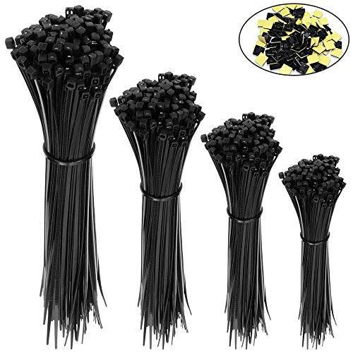 Kabelbinder,400 Stücke Selbstverriegelung kabelbinder schwarz, UV-Beständig,Hitzebeständig,150/200/250/300 mm (je 100 Stück) Und 20 Kabelbinderhalter