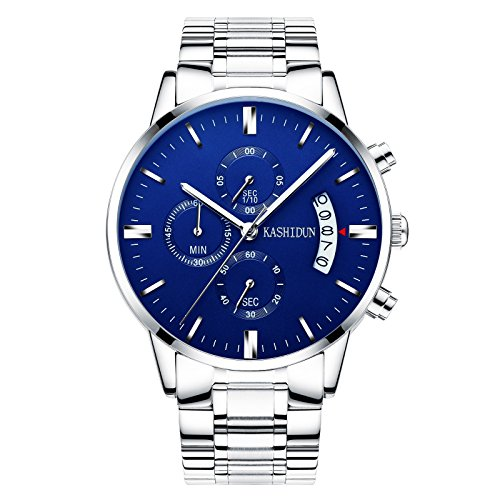 KASHIDUN Men's Watches Luxury Sports Casual Quartz Wristwatches Waterproof Chronograph Calendar Date Stainless Steel Band Blue Color TL-YL