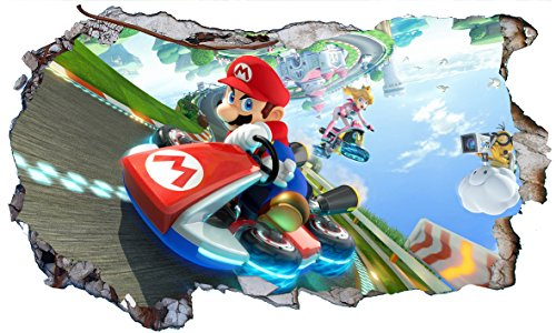Chicbanners Super Mario Brothers Kart V711 Magic Window Wall Smash Aufkleber, selbstklebend, Größe 1000 mm breit x 600 mm tief (groß)