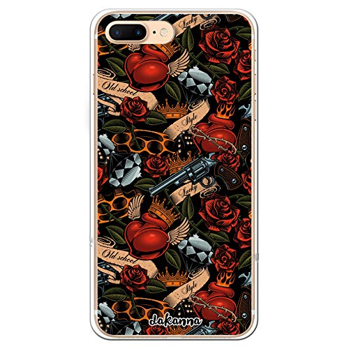 dakanna Kompatibel mit [iPhone 7 Plus - 8 Plus] Flexible Silikon-Handy-Hülle [Transparent] Tattoo-Stil Old School mit Pistolen und Rosen Design, TPU Case Cover Schutzhülle für Dein Smartphone