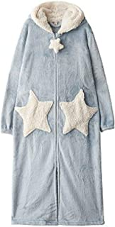 YPDM Robe Winter Thick Extra Long Zipper Pajamas Robe Women Fashion Star Moon Warm Hooded Bathrobe Loose Bridesmaid Robe Dressing Gown,Blue Star,XL