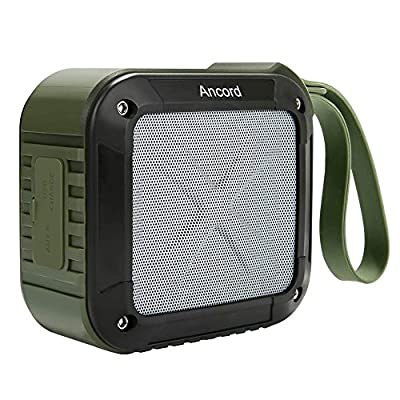 Ancord Wireless Portable Bluetooth Speakers with FM Radio - Waterproof Rechargeable TF/Micro SD Card Built-in Mic 3.5mm Audio NFC(Green) by