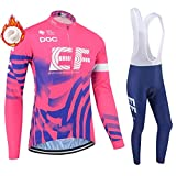 Men/Women's Long Sleeve Cycling Clothing for Winter,5D Gel Padded Trousers Pants Jegging Cycling Suit Bib Tights Long Sleeve Cycling Jersey Top for Bike Bicycle