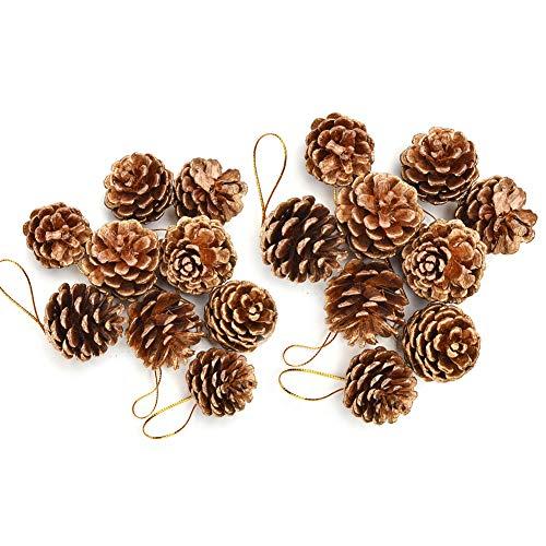 18 Piezas Decoraciones Navideñas Conos de Pino Conos de Pino Secado Natural de Navidad Colgante Adorno para Bricolaje Arte Decoración del árbol de Navidad, 2 Tamaño