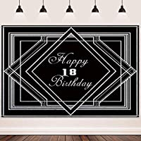 HD ack and White Background for18th Birthday Party Supplies FHZON 10x7ft White Line Box Backdrop for Photography Bar Mitzvah Theme Party Photo Booth Props 421