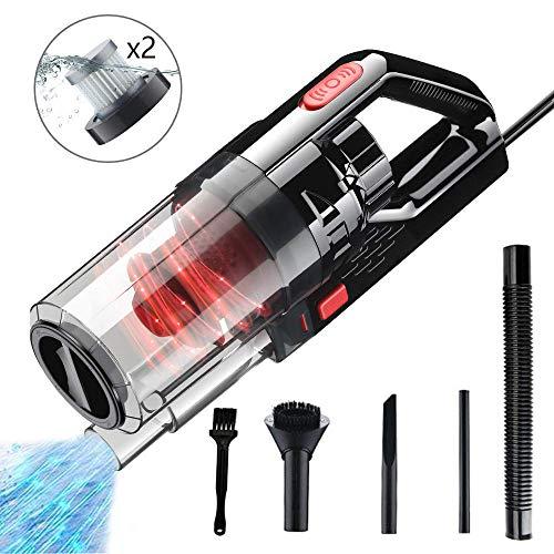 E-MANIS Auto Staubsauger, 150W 7500PA Starke Saugleistung, 2 HEPA Filter, 4,5 m Netzkabel, Nass/Trocken Portable Handheld Handstaubsauger für KFZ