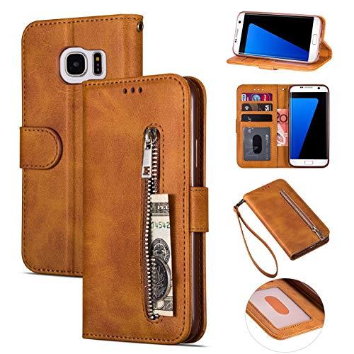 ZTOFERA Brieftasche Hülle für Samsung Galaxy S7, Reißverschluss PU Leder Magnetisch Flip Folio Kartenhalter mit Trageschlaufe Ständer Zipper Geldbörse Schutzhülle für Galaxy S7 - Braun