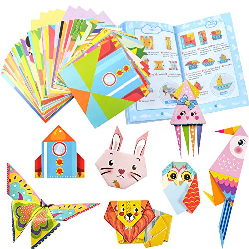COCHIE Origami Bambini Libro Kit, 152 Fogli Decorazione Artigianale Carta Origami Quadrata Fronte-Retro con Libretto di Istruzioni di 80 Pagine Kit Origami Fai da Te per Bambini