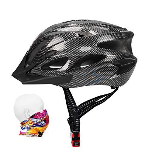 Bike Helmet 56-64CM with Visor,Sport Headwear,18 Vents,Cycling Bicycle Helmets Adjustable Lightweight Large Adults Mens Womens Ladies for BMX Skateboard MTB Mountain Road Bike Safety(Carbon Black)