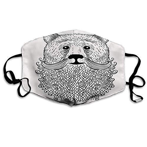 Bequeme Winddichte Maske, Indie, Doodle Style Sketch Bear Portrait mit lockigem Bart und Schnurrbart Cooles Tier, Schwarz Weiß