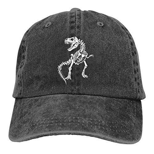 NVJUI JUFOPL Boys' Skeleton Dinosaur Baseball Cap Vintage Washed Funny Hat for Kid Black