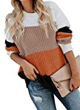 Dokotoo Womens Winter Color Block Casual Crewneck Sweaters Striped Long Sleeve Fashion Loose Chunky Knitted Sweater Pullover Outerwear Large