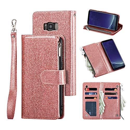 UEEBAI - Funda para Samsung Galaxy S8 Plus, con cierre de cremallera, piel sintética de poliuretano suave, cierre magnético, tarjetero, función atril, con correa, color oro rosa