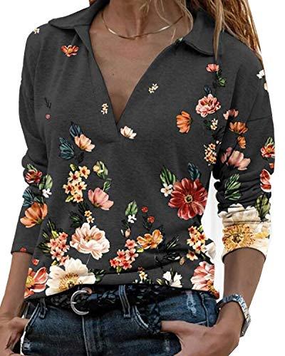 Damen Blumen Tops Langarm V Ausschnitt Bluse Revers T Shirt Oberteil (schwarz, XL)
