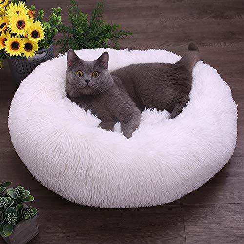 OcaseQ Plüsch-Donut-Haustierbett Hundebett Katzenbett Runde Form Weiches Flauschig Hundebett rutschfeste Unterseite Maschinenwaschbar Haustierbett für Katzen und Hunde,Weiß,80 * 80CM