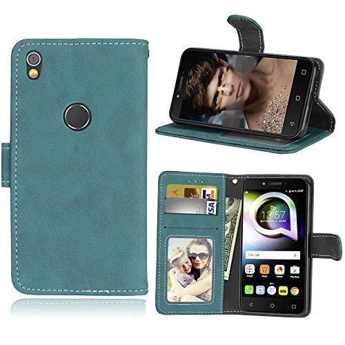 Alcatel Shine Lite Hülle, SATURCASE Retro Mattiert PU Lederhülle Magnetverschluss Flip Brieftasche Handy Tasche Schutzhülle Handyhülle Hülle mit Standfunktion für Alcatel Shine Lite 5080X (Blau)