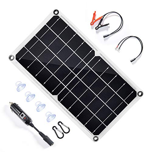 TP-solar 10 Watt 12 Volt Solar Panel Car Battery Charger 10W 12V Portable Solar Trickle Battery Maintainer with Cigarette Lighter Plug & Alligator Clip for Car Boat Motorcycle Tractor (White)