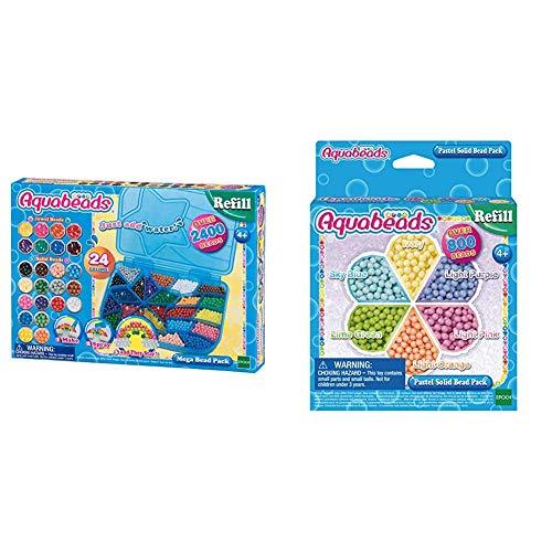 Aquabeads - Loisirs créatifs - Méga Pack 2400 Perles, 7963 & Recharge Perles Pastel Activitée créative, 31360, Multicolore, Taille Unique
