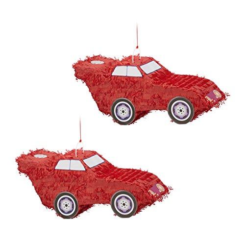 Relaxdays 2X Pinata Voiture Auto à Suspendre pour Enfants à remplir Anniversaire Jeux décoration HxlxP: 24 x 52 x 18 cm, Rouge