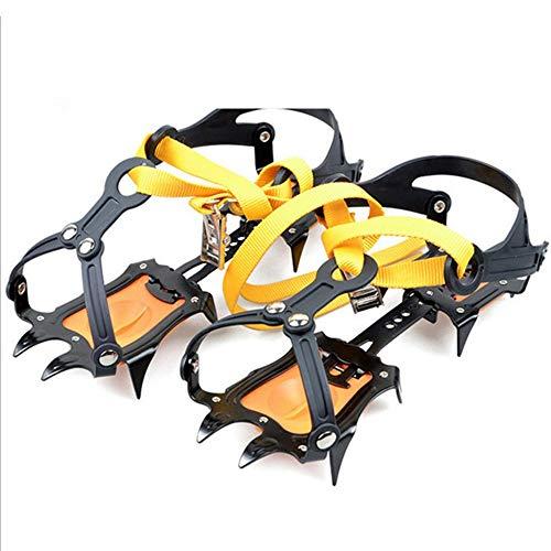ThreeH Crampons en Acier Inoxydable 10 Crampons Anti-dérapants Crampon Taille Réglable pour la Randonnée Glacée sur Glace